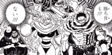 The Big Mom Pirates confronts the Straw Hat and Fire Tank Alliance.png