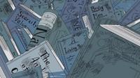 Brag Men pode ser visto juntamente com outros livros salvos do Buster Call em Ohara.