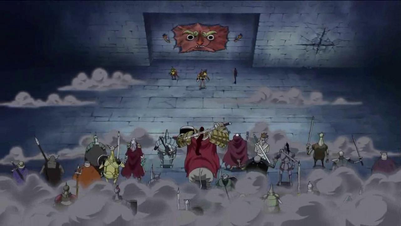 Monkey D. Luffy, Nico Robin und Franky gegen General Zombies