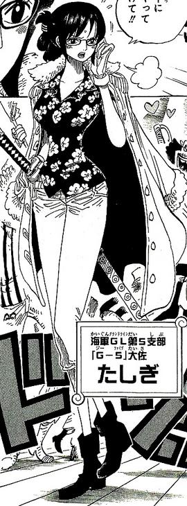 Tashigi tras el salto temporal en el manga