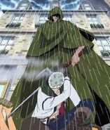 Dragon hält Smoker ab, seine Jutte gegen Luffy zu ziehen