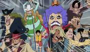 Los Capitanes Piratas amparan a Luffy durante el rescate