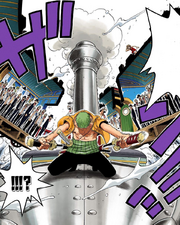 Zoro cuts up the cars.png
