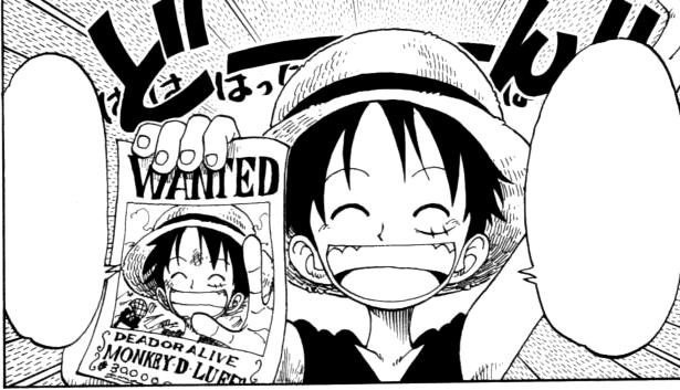 Luffy hält glücklich seinen ersten Steckbrief hoch.png
