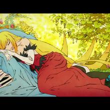 Monogatari-series-second-season-shinobu-oshino-kissshot-acerolaorion-heartunderblade-vampire-god-sleeping.png