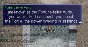 Fortune-teller Auris offering her Force Power services.