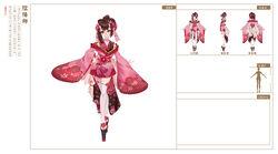 桃花妖皮肤-落英缤纷三视图