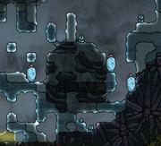 冰冻区中的一座掩埋的间歇泉。