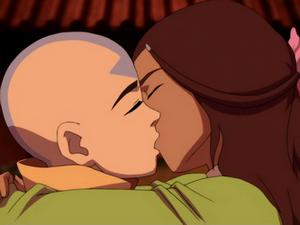 Aang and Katara kiss