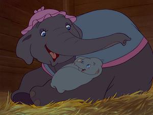 Mrs. Jumbo tending to Dumbo