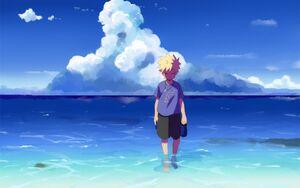 480941-Masashi Kishimoto-anime-Uzumaki Naruto-digital art-landscape-water-beach-Naruto Shippuuden