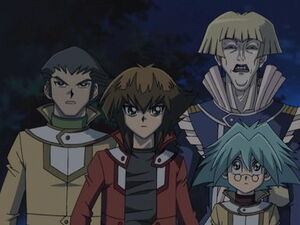 Jaden, Syrus and Bastion with Crowler