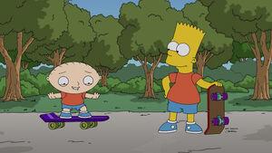 Stewie Griffin with Bart Simpson