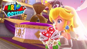 Super Mario Odyssey peach and tiara scared and sad