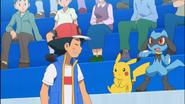 Ash, Pikachu and Riolu in Kalos region