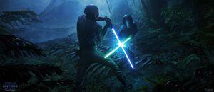 Luke Leia fight concept art