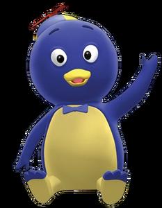 Pablo blue penguin sitting of the backyardigans
