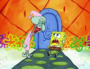 Squidward yells at Spongebob