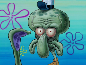 Squidward really not happy