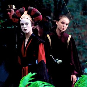Keira Knightley as Sabé and Natalie Portman as Padme in Star Wars Episode I - The Phantom Menace - 3