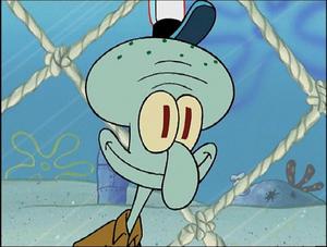 Squidward smiling