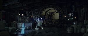 Luke and R2 in the Falcon