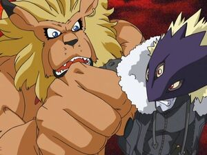 Leomon stopping beelzemon full