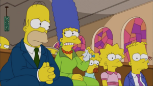 Simpsons mourning Chip's funeral