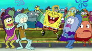 SpongeBob laughing excitedly
