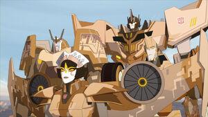 Optimus Prime, Sideswipe, Drift and Windblade (Cover Me)