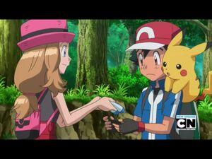 Serena, Ash, and Pikachu