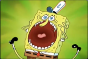 SpongeBob screeching comically