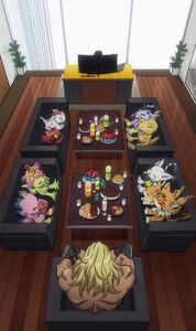 Leomon with Izzy and 9 Digimon partners
