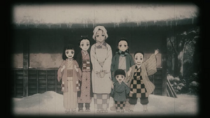 Nezuko is with her mother and siblings