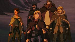 Thor, Loki and the Warriors Three found the sword