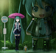 Yande.re 650617 chibi hatsune miku mayo riyo parody thighhighs tonari no totoro umbrella vocaloid wet