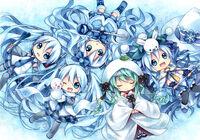 Vocaloid blue eyes blue hair bunny hatsune miku kagami leo scarf skirt snowman staff thighhighs twintails vocaloid wink winter yuki miku 4000x2801