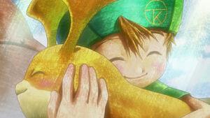 T.K. and Patamon hugs