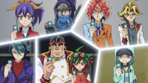 Arc V Lancers and their Dimension Mover cards