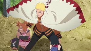 Naruto salva a Chocho y Sarada