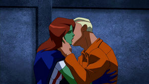 Superboy and Miss Martian kiss