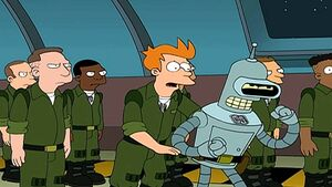 Fry and Bender in the army