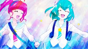 STPC13 Hikaru and Lala holding hands as they run to school