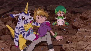 Gabumon, Yamato, T.K. and Tokomon