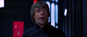 Luke Skywalker facing Emperor Darth Sidious