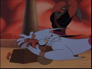 Genie saves Aladdin from getting beheaded by Razoul