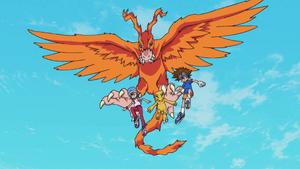 Birdramon, Sora, Agumon and Taichi
