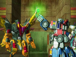 Optimus, Scourge and the Cyber Planet Key.jpg