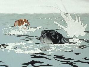 Rowf and Snitter at sea