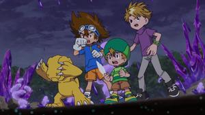 Agumon, Taichi, T.K. and Yamato